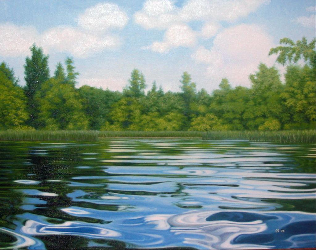 Рисунок озера красками